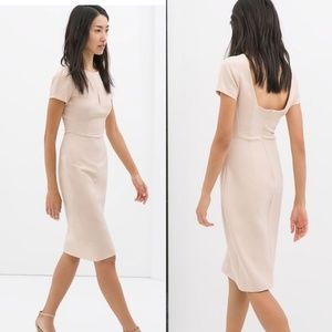 NWT Zara Blush Pink Midi Dress Low Back Neutral